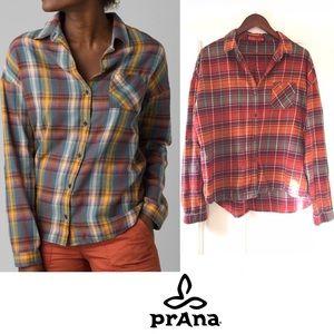 prAna rainbow Percy plaid organic flannel shirt